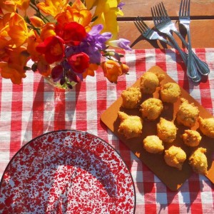 Corn Fritters and Flowers